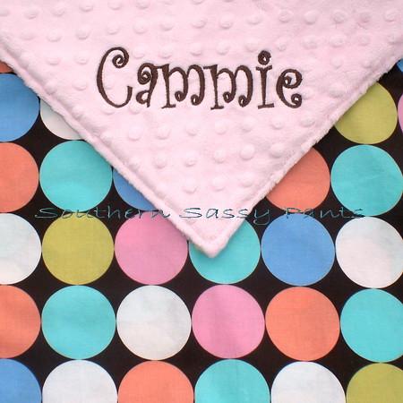 Cocoa Disco Dots Minky Baby Blanket