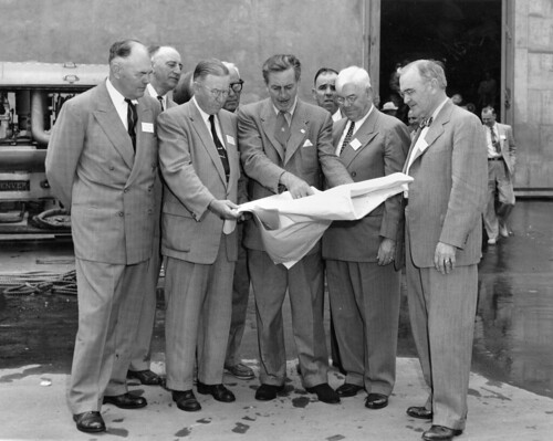 Walt Disney shows Disneyland plans to Orange County officials, Dec. 1954 | by Orange County Archives