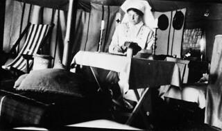 Nursing Sister Ruby G. Peterkin, No.4(University of Toronto) General Hospital, C.A.M.C., in her tent / Infirmière militaire Ruby G. Peterkin, Hôpital général no 4 (Université de Toronto), CSAC, dans sa tente