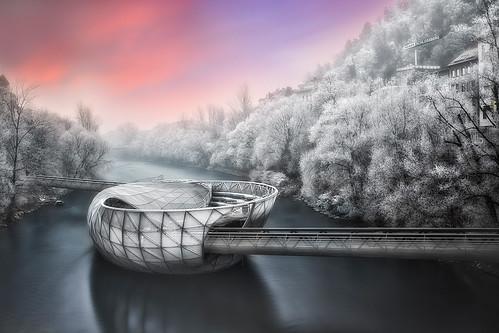 mur acconci river sunrise pink sky frost december dawn graz architecture murinsel vito