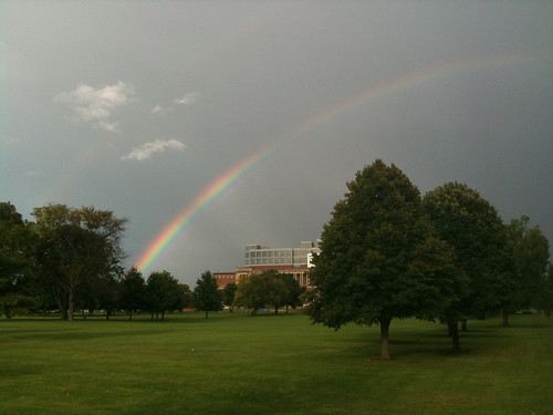 Rainbow over Memorial Stadium