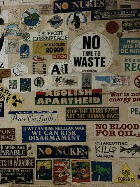 Sticker on board of the Rainbow Warrior
