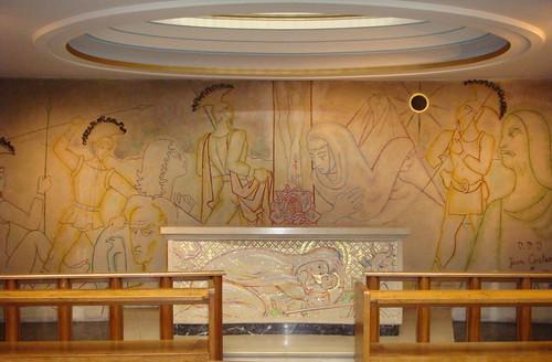 Jean Cocteau mural - Notre Dame de France church, London