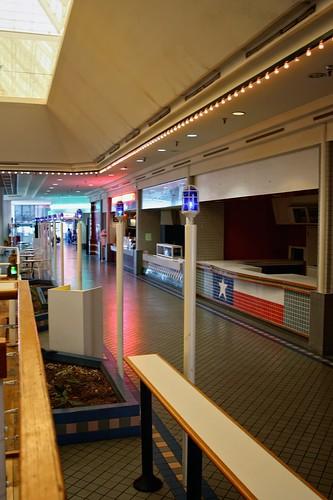 blue red white mall shopping table dead neon texas corpuschristi empty flag skylight foodcourt texasflag counters sunrisemall dyingmall