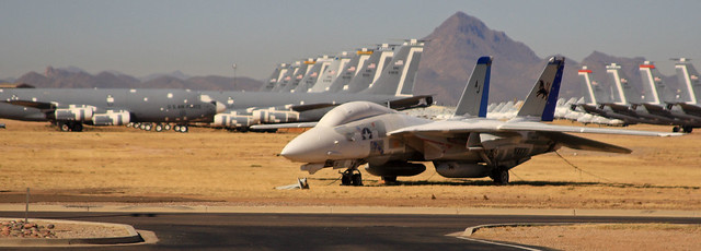 F-14 Tomcat in front of rows of C-135s