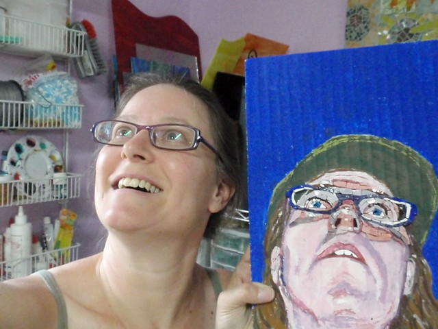 Self portrait with self portrait in progress