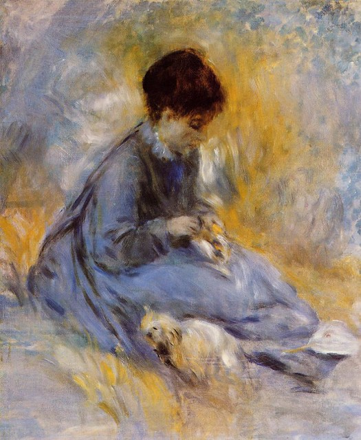 Pierre Auguste Renoir 1876 - Young Woman with a Dog - pc
