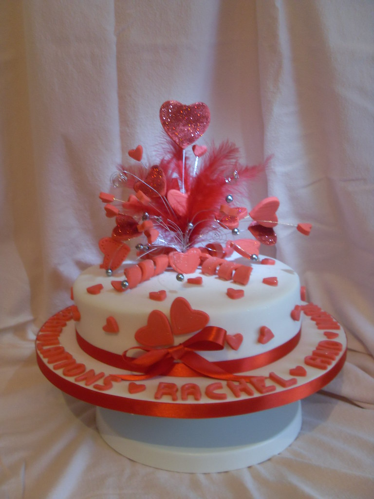 Engagement Cake Heart Burst Derby Red Hearts Adorn This E Flickr