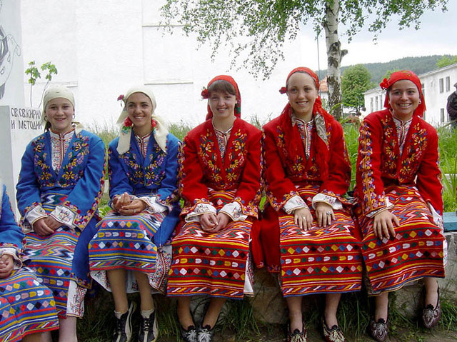 Young Muslim women (Pomaks) in traditional dress
