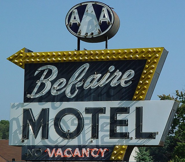 Bel-aire Motel Neon Sign With AAA Logo & Bulbs In Arrow