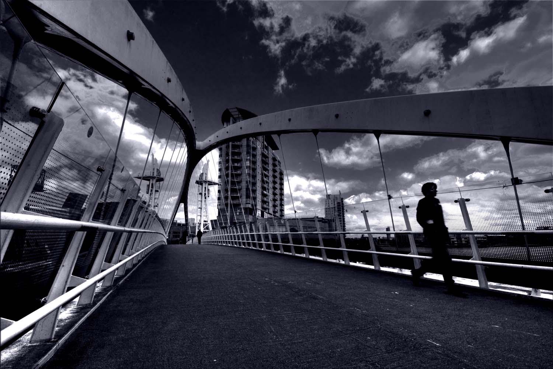 Salford,Quays,Bridge,across,Lowry,Centre,blue,mono,monochrome,black,white,person,people,figure,crossing,365days,B/W,this photo rocks,HDR,high dynamic range,city,hotpix!