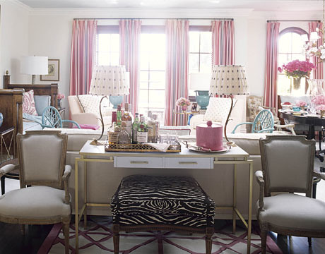 Colorful living room: Pink + turquoise + zebra print by de ...