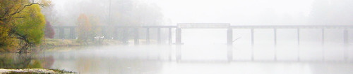 fog reflection fall autumn bridge sanjacintoriver harriscounty humble texas railroad train natureslight pontist united states north america