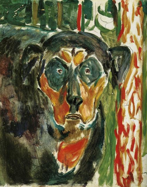 Edvard Munch - Dog's head by a red tree 1930's 2