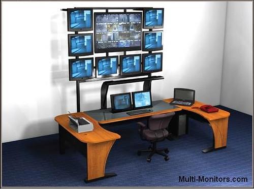 Etonnant Multiple Screen Computer Workstation Desktop Desk And Mult ...