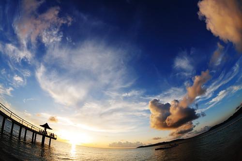 blue sunset sea summer sky orange cloud beach japan landscape nikon 日本 okinawa 夏 雲 夕日 海 空 青 風景 ishigaki オレンジ 石垣島 d300 ビーチ yaeyama 八重山 fusaki 八重山諸島 supershot atx107dxfisheye1017mmf3545 フサキ