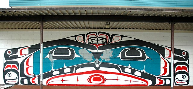 Oyster with pearl in its mouth or teeth, Haida art, school, Seattle, Washington, USA