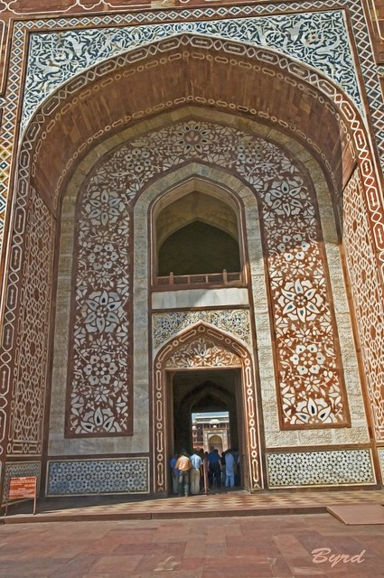 Detail of stonework - exterior Main Gate, Akbar's Tomb complex