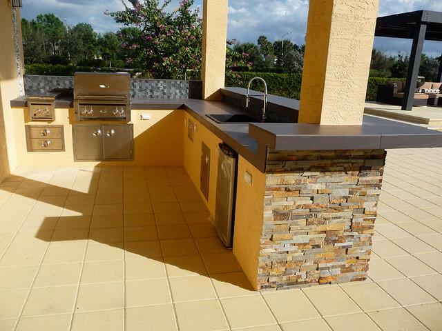 Stacked Stone & Stainless Steel Modern Outdoor Kitchen | Flickr