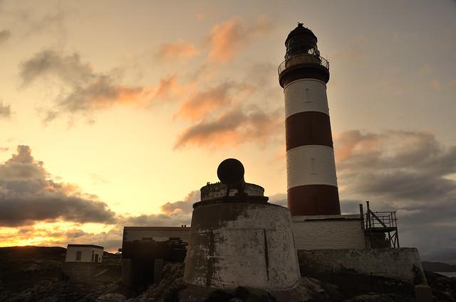 Eilean Glas lighthouse at sunset, Scalpay, Harris, Scotland