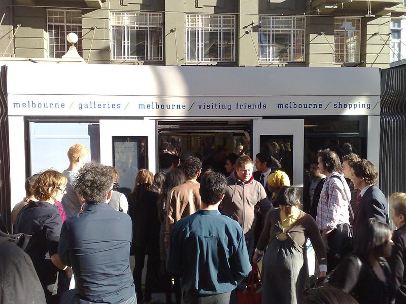Busy tram, Bourke Street