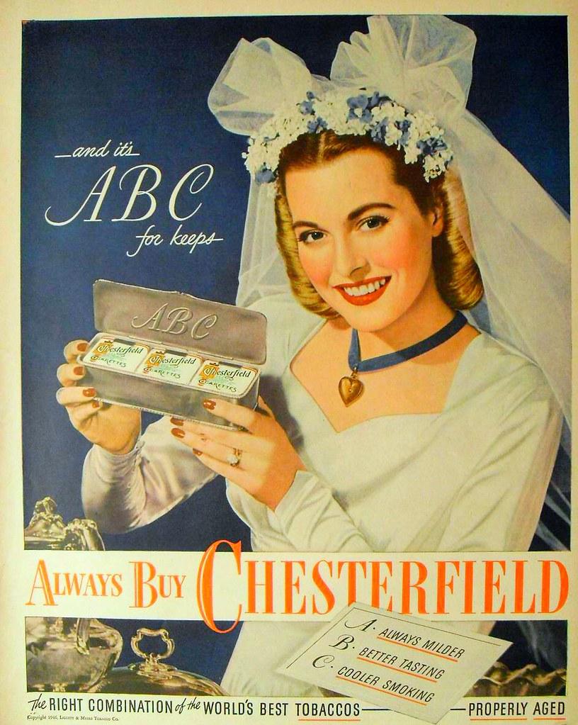 1946 Bride Wedding Dress Chesterfield Cigarettes Vintage A Flickr