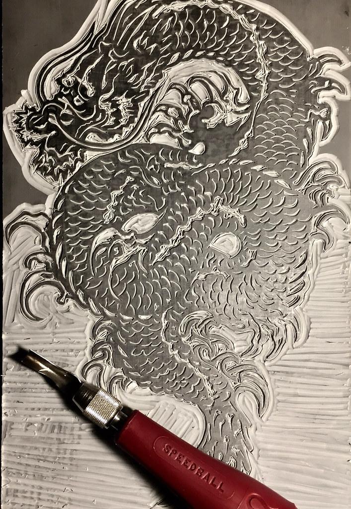 Wip Ryujin Dragon God 6x9 Linocut Lance Duffin Flickr