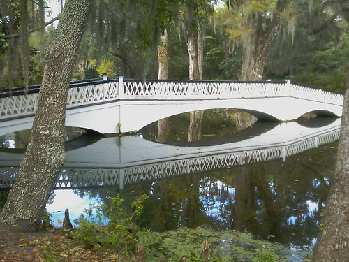 Bridge and reflection.  Magnolia Plantation. | by slworking2