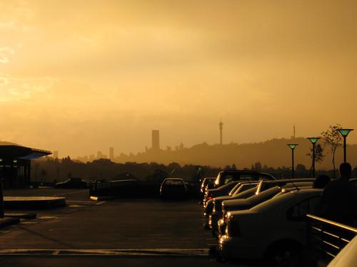 africa city sunset skyline southafrica johannesburg