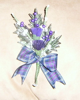 *stu 235 b/h* bestmans scottish thistle buttonhole with anderson tartan ribbon | by WWW.FLOWERGEM4U.CO.UK