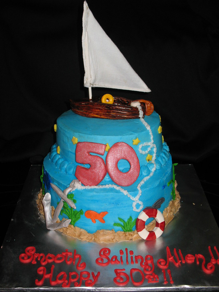 Astonishing Sailboat Birthday Cake Buttercream With Fondant Accents S Flickr Funny Birthday Cards Online Sheoxdamsfinfo