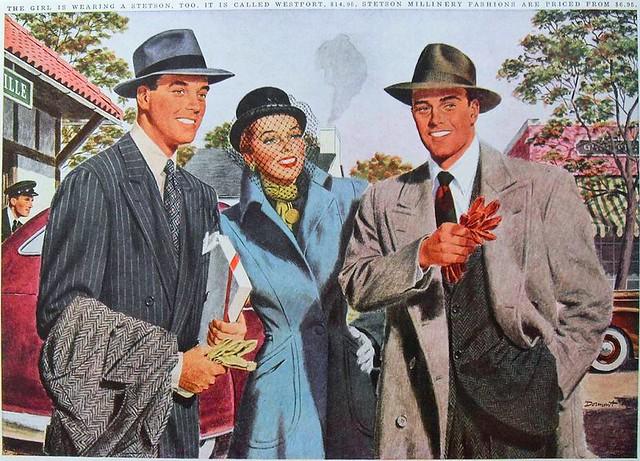 1950s Men's Women's Fashion Illustration Advertisement STETSON HATS