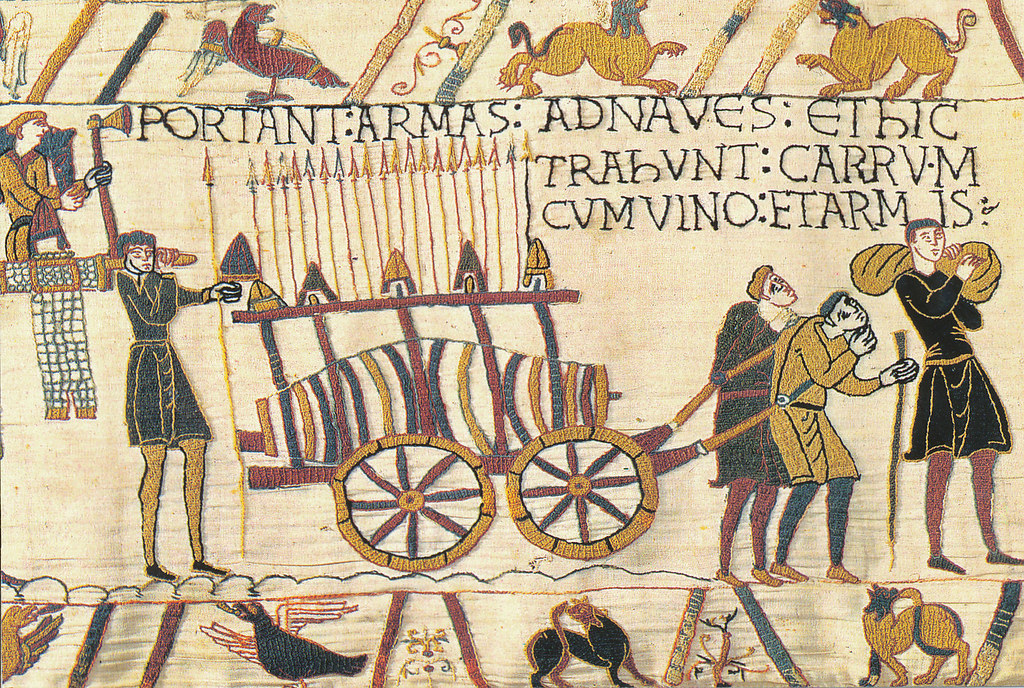 Bayeux Tapestry 16 Weapons and wine carried on board