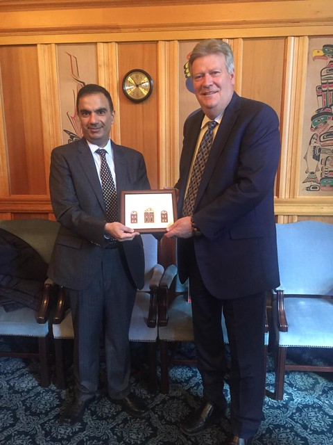 Minsiter Coleman with Ambassador of the State of Qatar to Canada