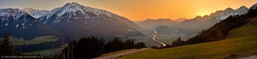 sunset panorama snow mountains alps austria alpine valley euro2009 europetrip2009
