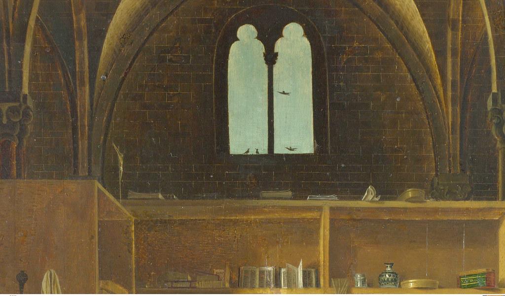 Antonello da Messina - Saint Jerome in his study room, detail book shelf