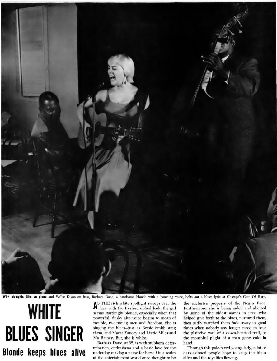 White Blues Singer Barbara Dane - Ebony Magazine, November, 1959