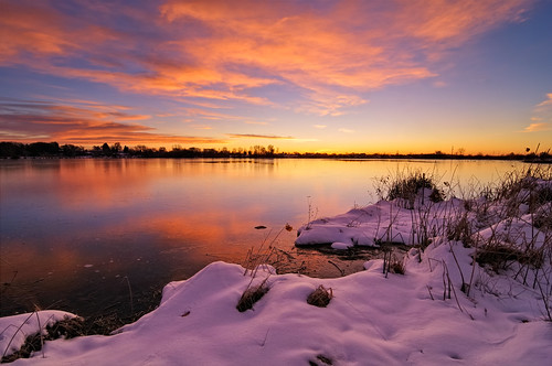 morning winter sky lake snow reflection nature clouds sunrise landscape dawn nikon bravo colorado glow fort fortcollins co openspace collins 2009 daybreak morn firstlight d300 naturalarea riverbendponds clff tokina1116