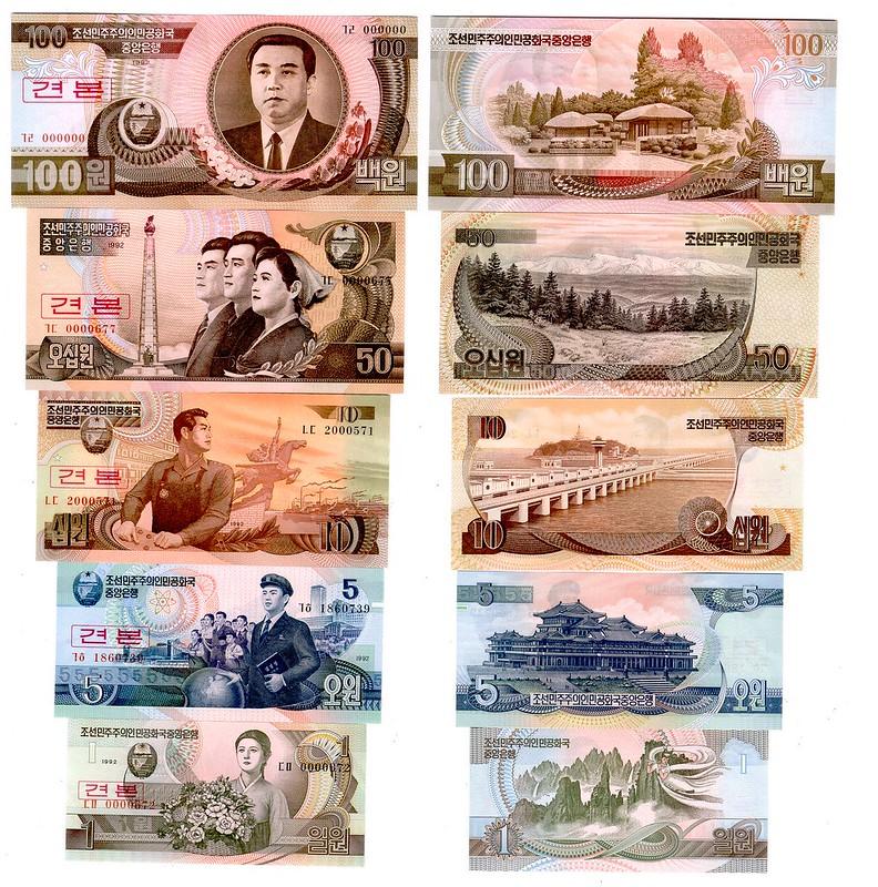 North Korean Won Currency Samples - Devaluation