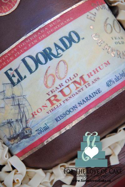 El Dorado 60th birthday rum bottle cake