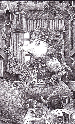 Auntie - An elderly Romany hedgehog has invited the hero for tea in her caravan. All the characters in this series are animals who appear in the guise of flamboyant fantasy characters.   by widdershins3