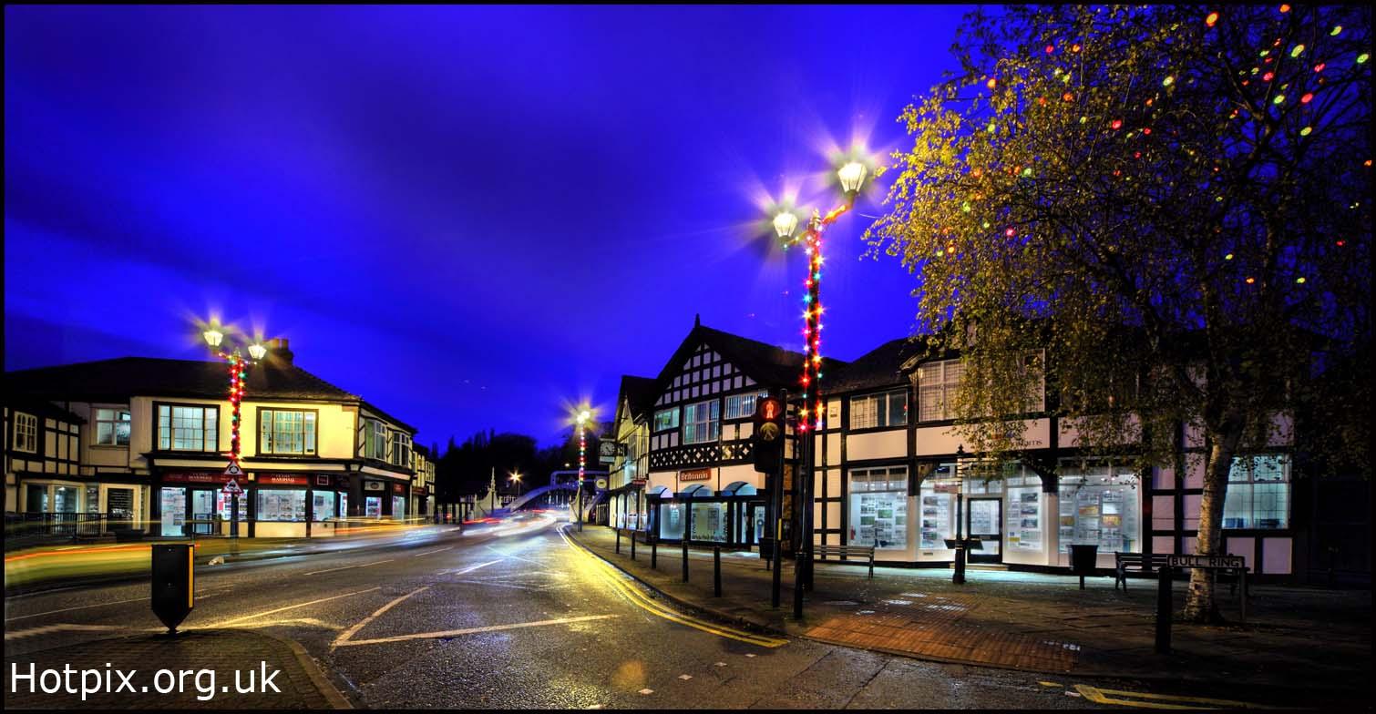 Northwich,dusk,night,shot,tripod,blue,sky,xmas,christmas,lights,december,cheshire,england,UK,north,west,GB,great,britain,tonysmith,tony,smith,hotpixuk,hotpix,available,light,low,timber,framed,buildings,old,365days,photo,photos,photography,photographer,hotpix.org.uk,www.hotpix.org.uk,HDR,high dynamic range,highway,road,noche,nuit
