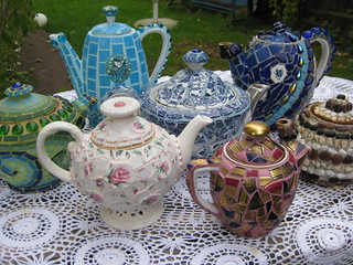 Mosaic tea pots | by Waschbear - Frances Green