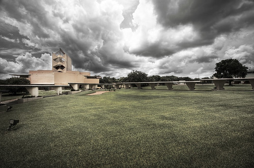 franklloydwright architect architecture floridasoutherncollege floridasouthern lakeland lakelandfl florida campus college anniepfeifferchapel anniepfeiffer hdr highdynamicrange childofthesun thebicyclerackinthesky bowtie grass clouds sky cloudysky gloomy overcast landscape colorfade exposure canoneos50d canon eos 50d efs1022mm efs 1022mm wideangle study workinprogress wroughtiron concrete glass esplanade archidose