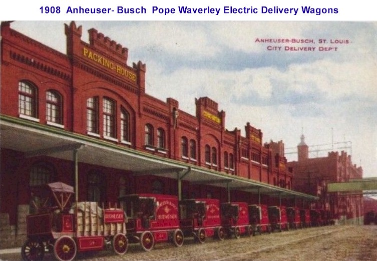 1908 Anheuser-Busch St. Louis City Delivery Dept Waverley Electric Trucks