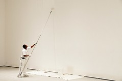 black guy painting a white wall at MoMA | by manuel.jimenez