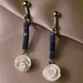 Blue sodalite and white rose earrings