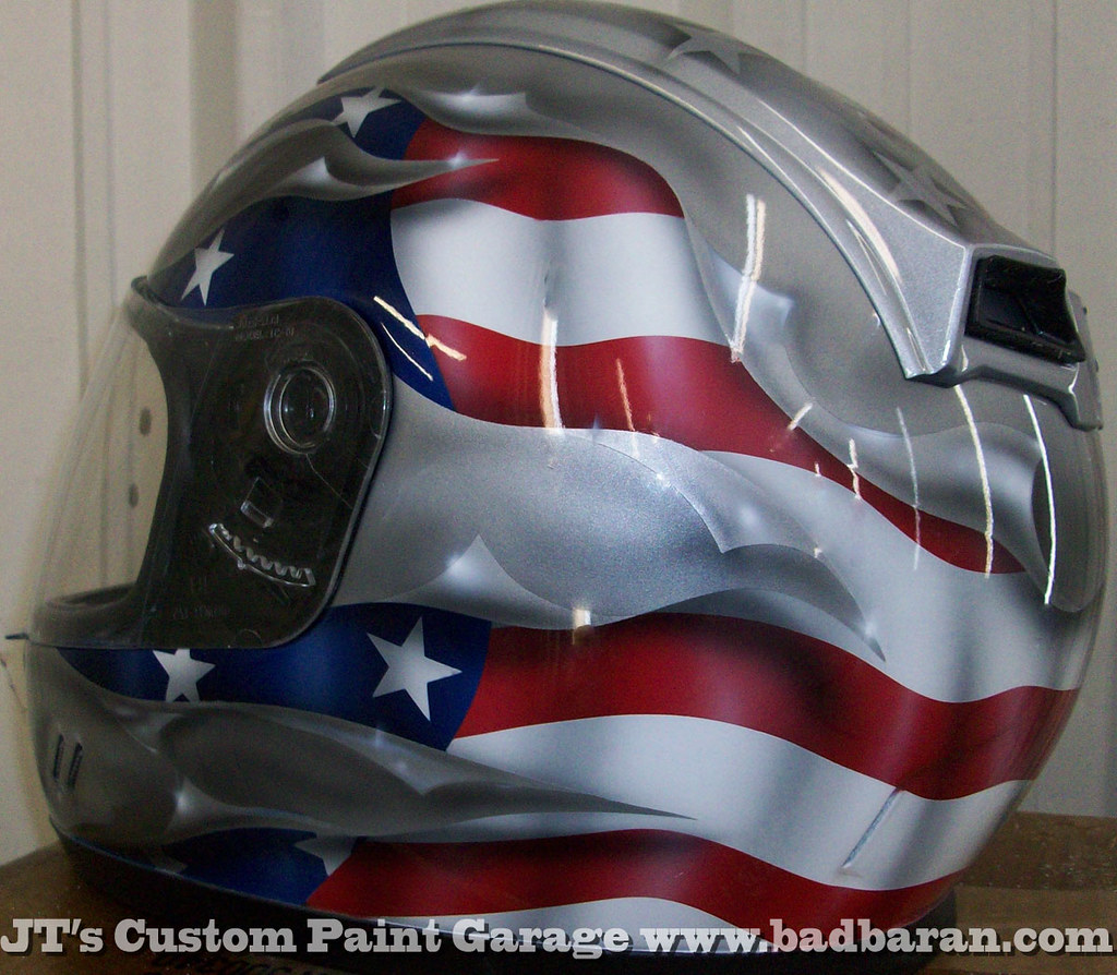 Custom Painted Helmet with American Flag Theme | JT's Custom Paint Garage |  Flickr