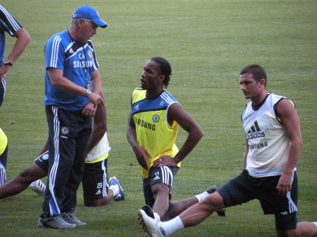 Carlo Ancelotti, Didier Drogba, Frank Lampard   Manager Carl