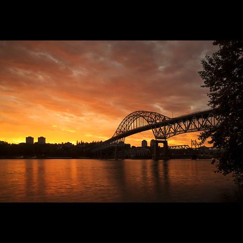 bridge sunset sky landscape cityscape dusk surrey explore frontpage fraserriver newwestminster lowermainland pattullo vob pattullobridge canonef1740mmf40lusm kvdl rally09